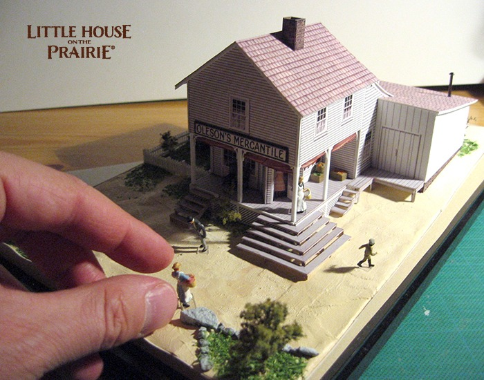 The mercantile in HO scale with scenery being added in.
