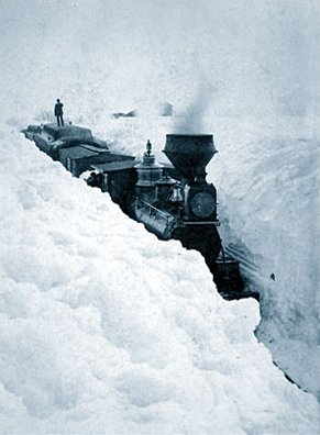 See how high the snow is packed around this train near Sleepy Eye, MN, in March 1881