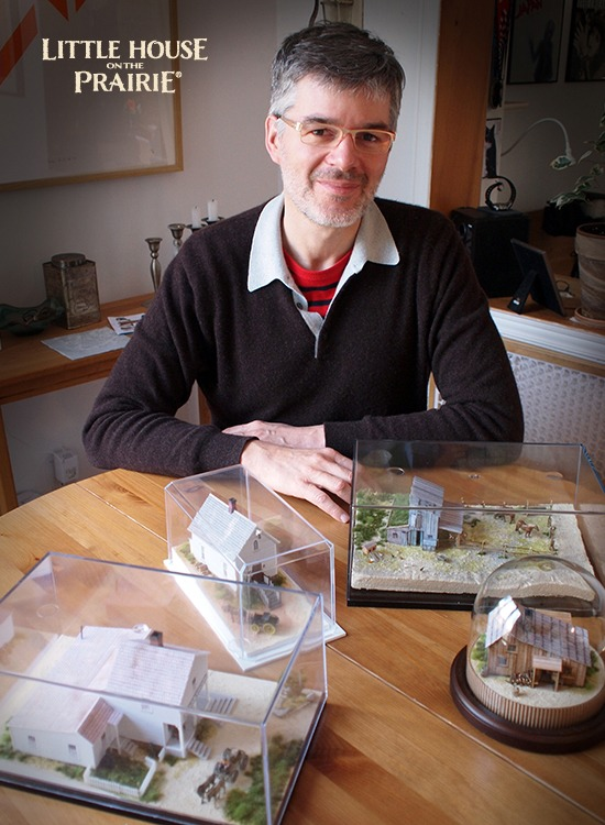Eric Caron with some of his Little House on the Prairie TV series inspired models from spring of 2014.