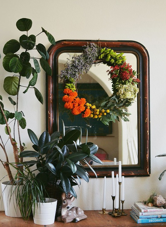 Flower and Grapevine Wreath - Natural home decor