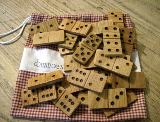 Homemade wooden domino set