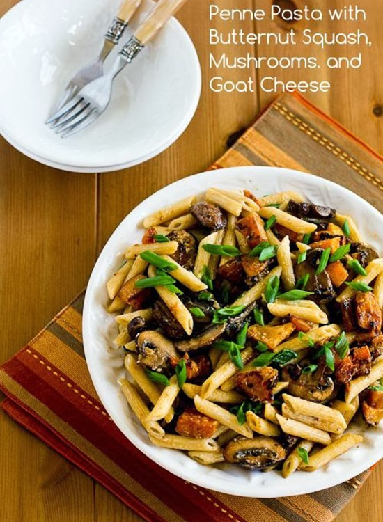 Penne Pasta with Butternut Squash and Mushrooms Recipe