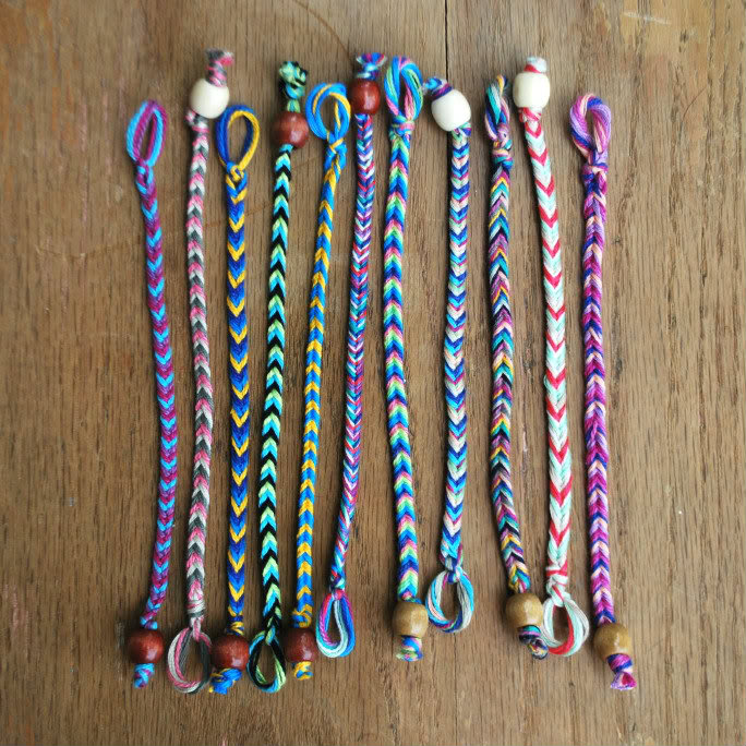 Old-fashioned and colorful friendship bracelets