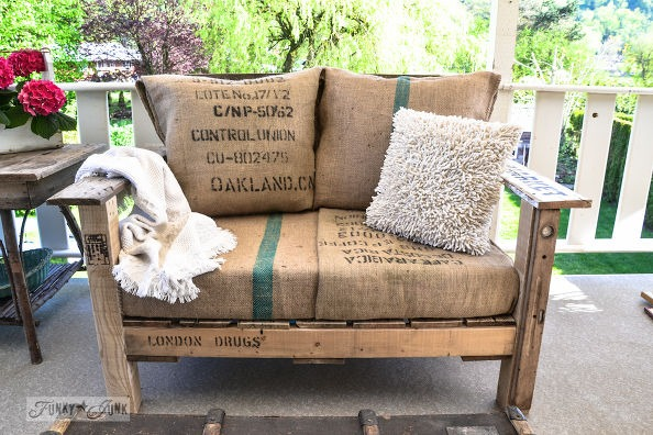 Wooden palette bench - oversized chair upcycled furniture