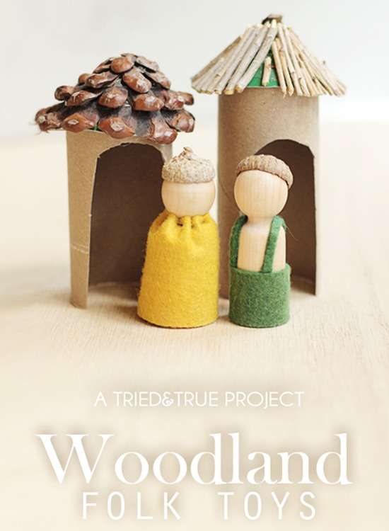 Woodland doll toys with natural and repurposed items.