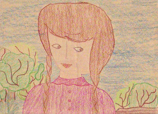 A 4th grade Little House on the Prairie inspired drawing by Pamela Smith Hill