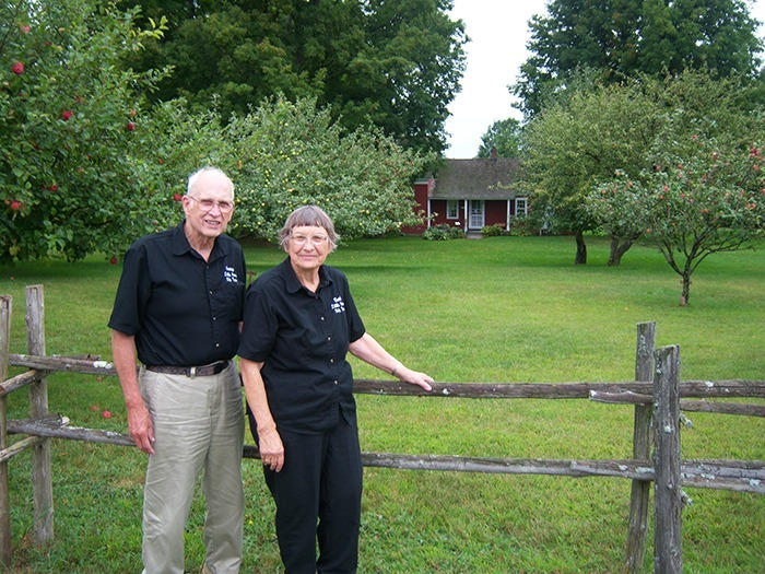 Barb and George Hawkins at the Wilder Homestead.