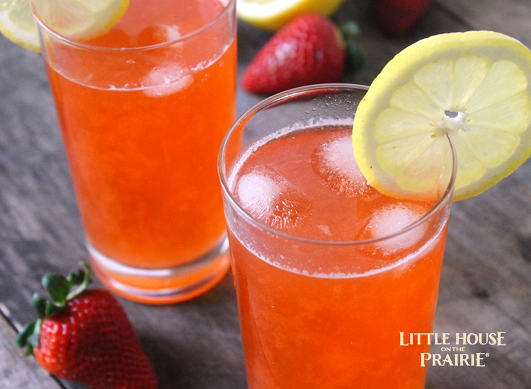 Strawberry lemonade variation of a Little House on the Prairie inspired recipe