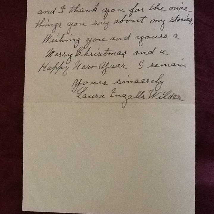 Laura Ingalls Wilder authentic letter in her penmanship.