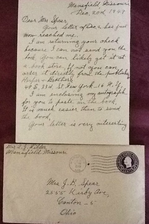 Letter from Laura Ingalls Wilder with autograph included.
