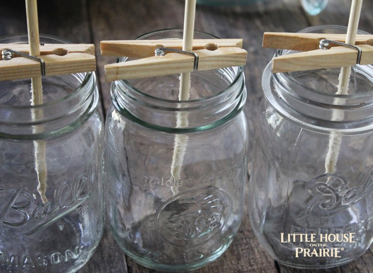 Rock Candy mason jar containers ready for the sugar syrup mixture.