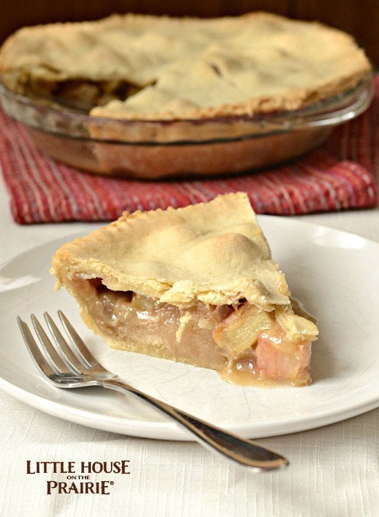 Delicious rhubarb pie like Laura Ingalls Wilder made in The First Four Years!