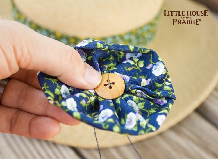 Use a button to create the center of the flower embellishment. These Little House on the Prairie®fabrics are perfect for old-fashioned styled fashion embellishments.