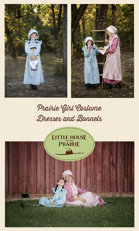 Prairie Girl Costume Dresses and Bonnets with Little House on the Prairie Andover Fabrics