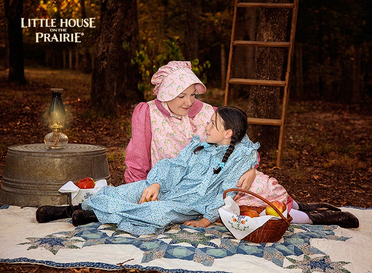Dress-up with prairie dresses for girls and women - inspired by the Little House on the Prairie line by Andover Fabrics