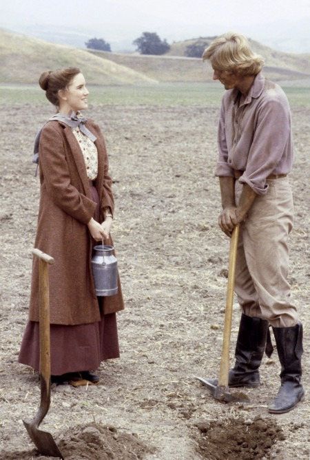 "Almanzo of the book vs Almanzo of the TV series - LITTLE HOUSE ON THE PRAIRIE -- ""Laura Ingalls Wilder: Part 1"" Episode 1 -- Airdate 9/22/80 -- Pictured: (l-r) Melissa Gilbert as Laura Elizabeth Ingalls Wilder, Dean Butler as Almanzo James Wilder -- Photo by: NBCU Photo Bank"