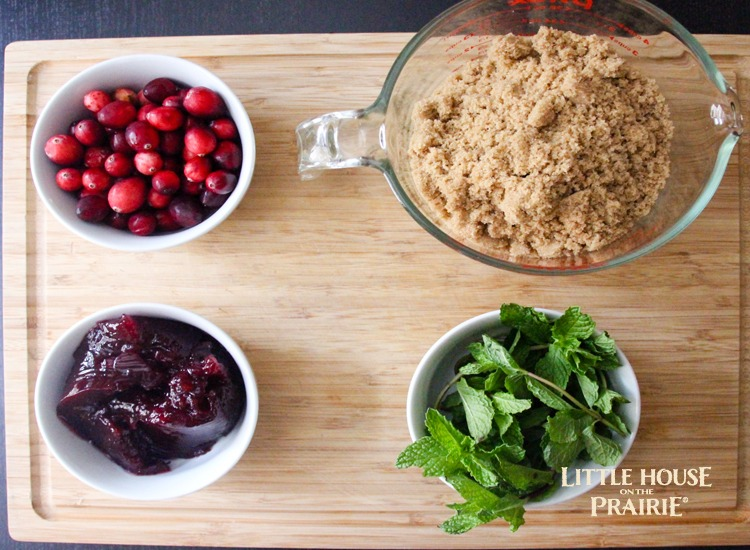 Fresh ingredients for a cranberry, mint and brown sugar glazed country ham - YUM!