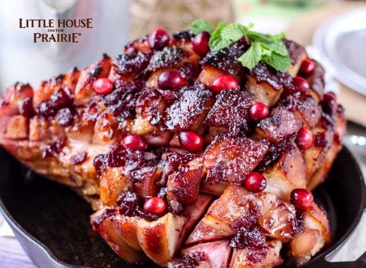 Delicious country style skillet ham recipe with cranberry and mint and brown sugar glaze - Unreal!!