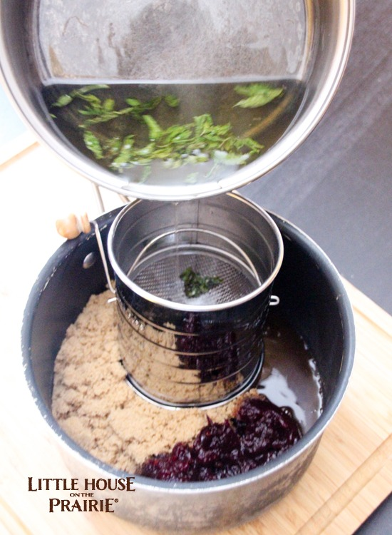 Adding the mint infusion to the cranberry and brown sugar for a delicious, mouthwatering ham glaze!
