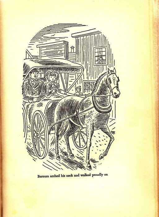 Laura drives Barnum with Almanzo in These Happy Golden Years illustration by Helen Sewell
