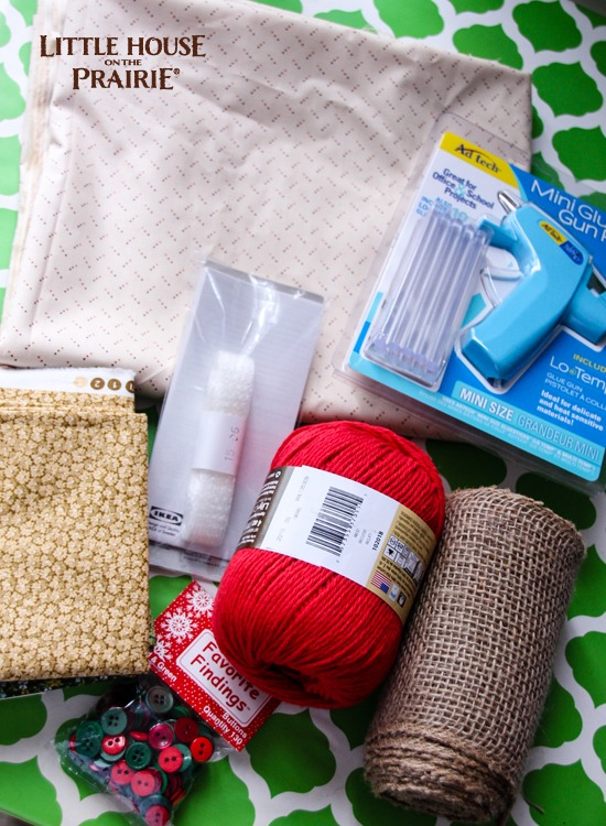 Materials to create a no-sew Christmas tree table runner for a Little House on the Prairie Christmas