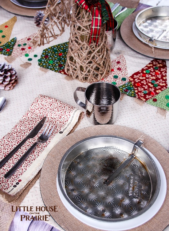 Little House on the Prairie Inspired Christmas Tablescape - perfect country style holiday table setting