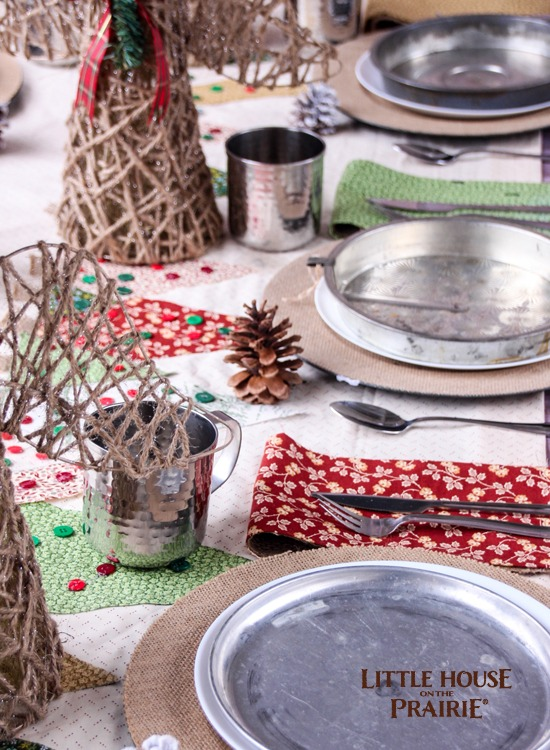 Country Christmas tablescape - Inspired by Little House on the Prairie books and fabrics!