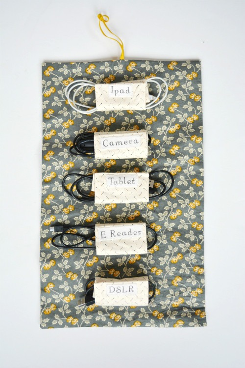 Fabric Cable Tidy, Cable Roll - Great fat-quarter friendly craft for home organization must-haves.