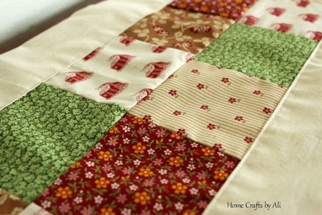 Prairie Patchwork Piano Runner - Simple quilted table runner for living room, mantle, or table.