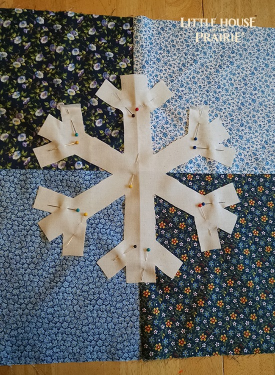 Snowflake Applique Pillow - Adding the snowflake to the front of the quilted pillow top