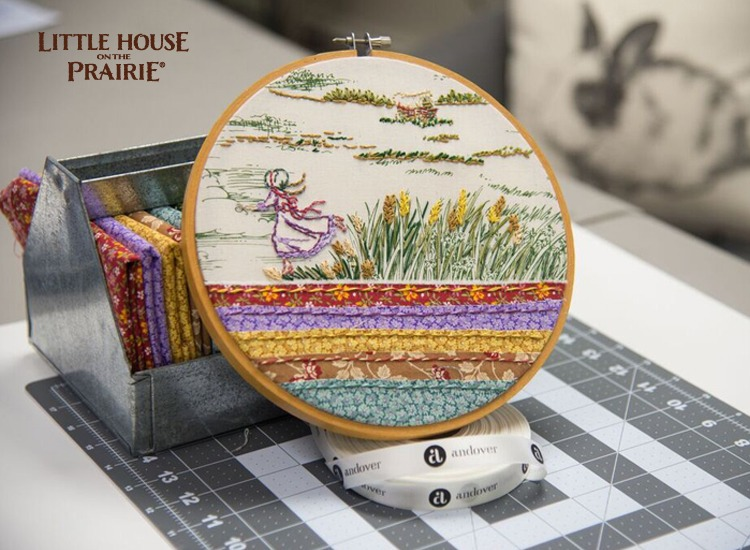 Little House on the Prairie hoop project using the Little House on the Prairie fabric collection for inspiration.