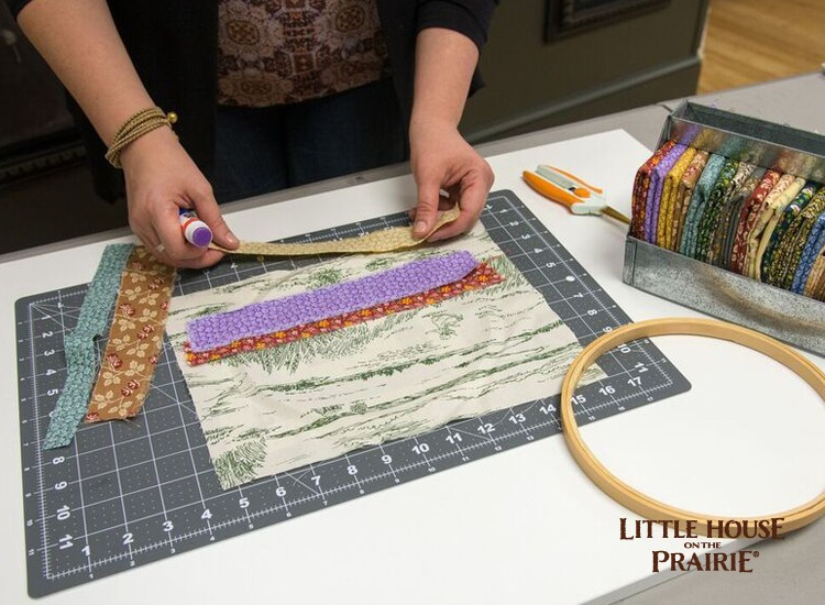 Preparing the extra color strips of the Little House on the Prairie fabrics