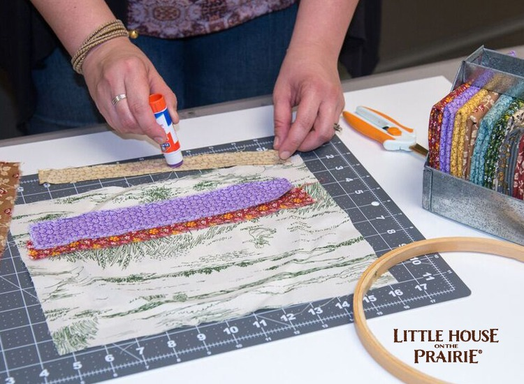 Glue your contrasting strips of Little House on the Prairie fabric for your hoop project.