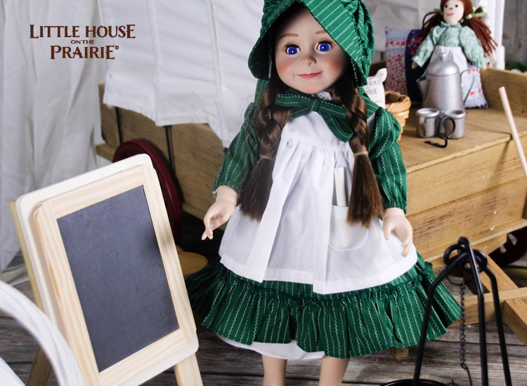 Laura Ingalls Wilder doll by The Queen's Treasture with homemade, old-fashioned chalkboard slate