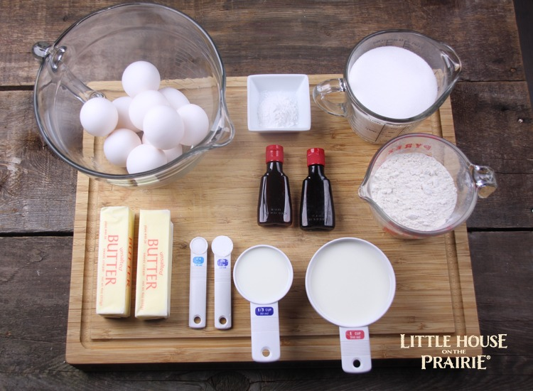 Laura's Wedding Cake Ingredients - perfect Angel Food Cake Alternative for a Little House on the Prairie Party