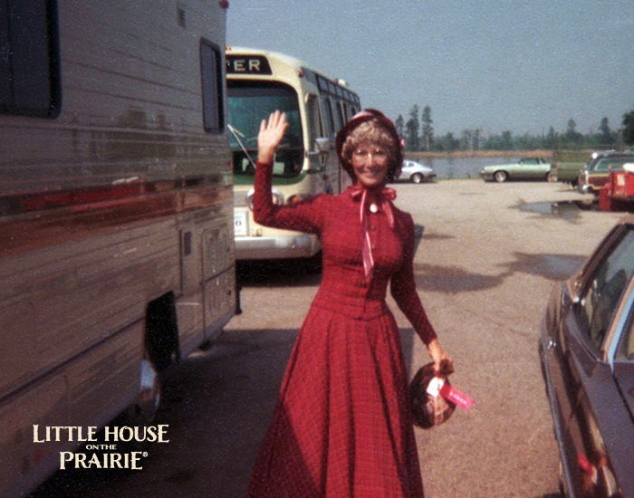 Charlotte Stewart - on the set of Little House on the Prairie