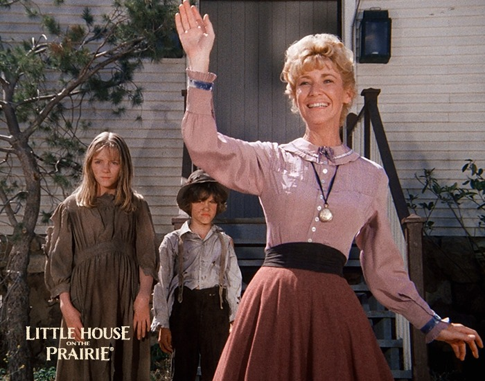 Charlotte Stewart as Miss Beadle with children on the set of Little House on the Prairie