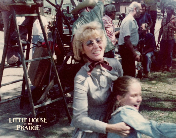 Charlotte Stewart on the set of Little House on the Prairie with Melissa Sue Anderson.