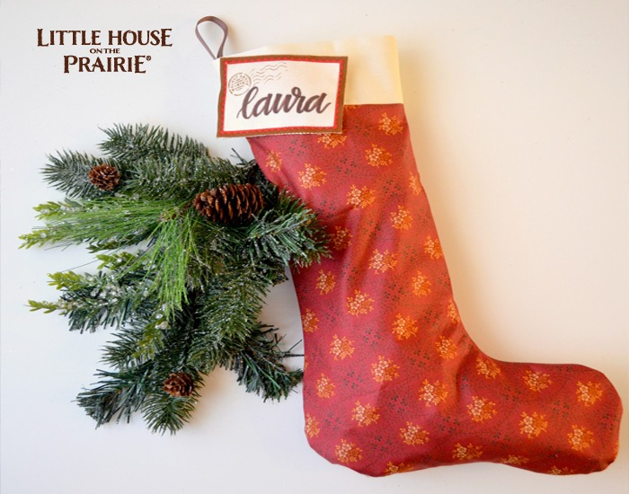 Little House on the Prairie inspired stocking for a simple homemade Christmas.
