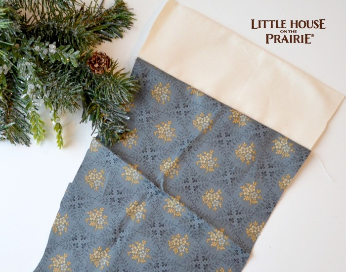 Beginning to sew the stocking together. Create your own Little House on the Prairie stocking.