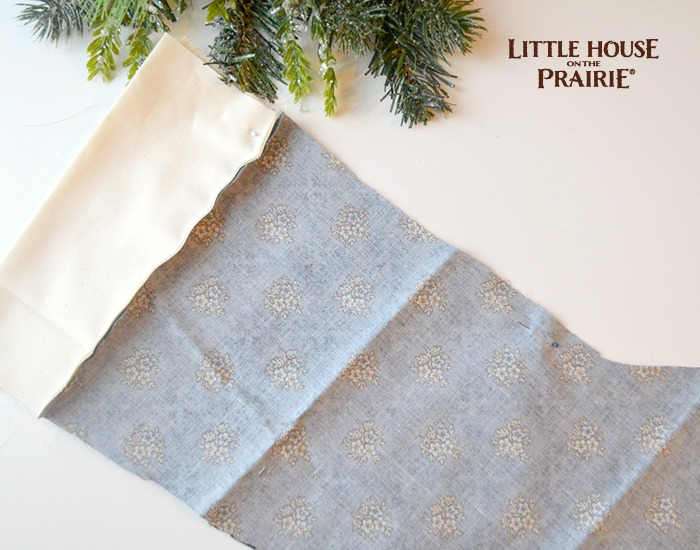 Sewing your DIY Little House on the Prairie stocking.