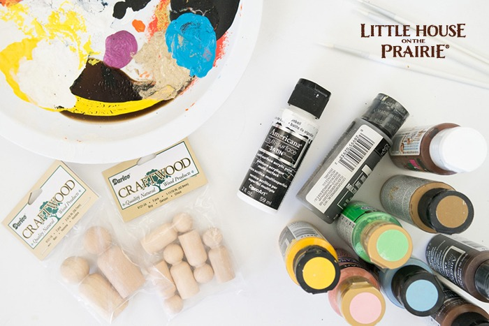 Supplies needed to make your own old-fashioned wooden dolls inspired by Little House on the Prairie
