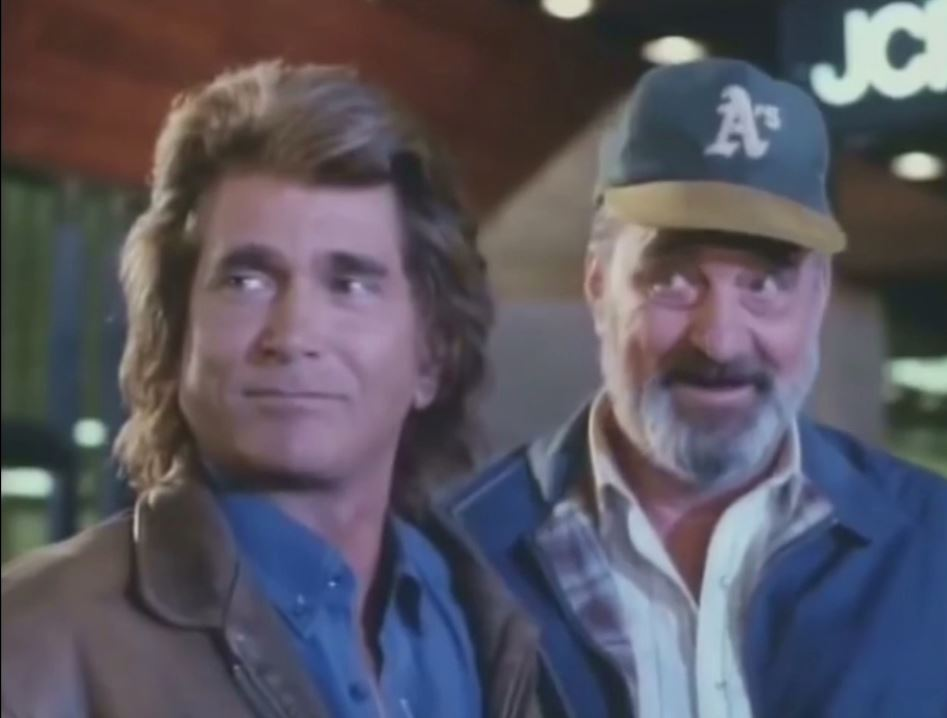 "Victor French and Michael Landon in ""Merry Christmas from Grandpa"" Highway to Heaven (Season 5, Episode 13)"