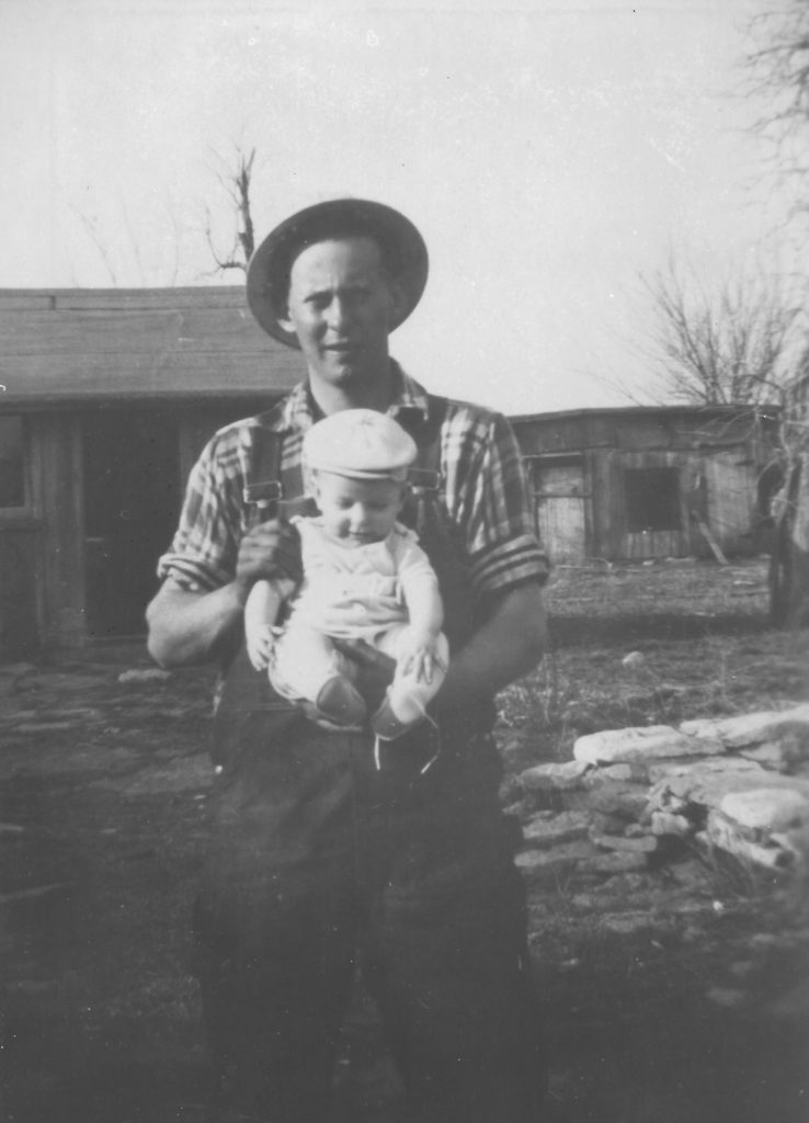 Victor W. Hines with his 15-month old son Stephen on the family farm near Plum Creek, Kansas. Photo courtesy of Stephen W. Hines.